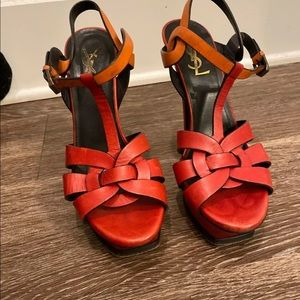 YSL Tribute Platform Sandals. Orange multi tone